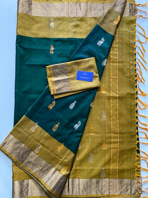 Deep Green Uppada Soft Silk