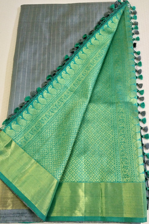 Soft Grey Kanchi Silk