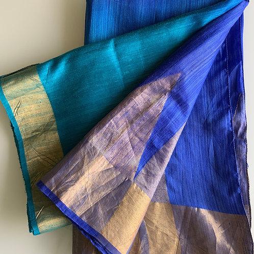 Blue Half and Half Raw Silk