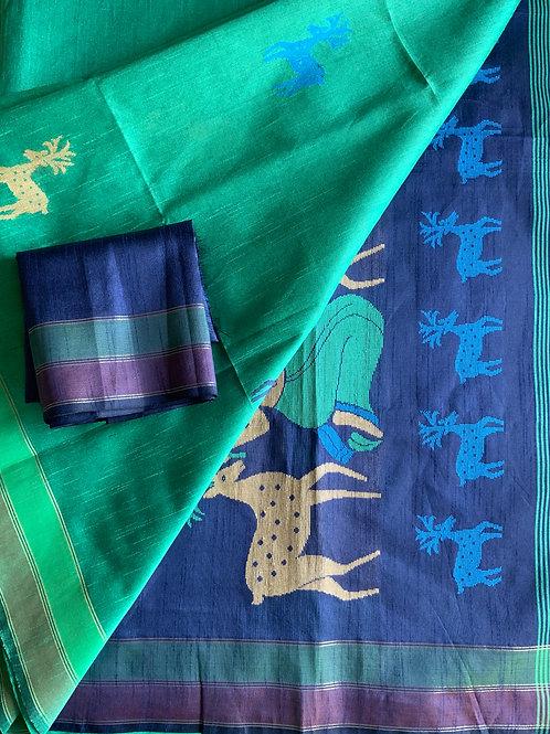 Green Jute Silk Saree with reindeer motif