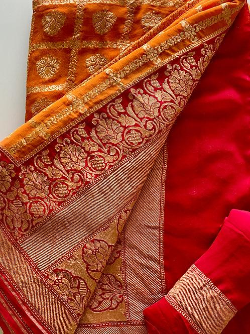 Red and Amber Georgette Banarasi