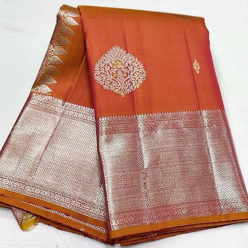 Vibrant Orange Kanchipuram
