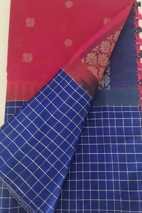 Pink and Blue Checkered Kora Silk