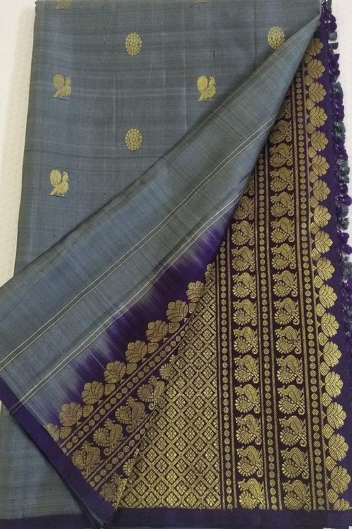 Grey Kanchi Soft Silk with Purple Pallu