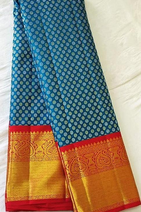 Exquisite Cobalt Blue Kanchipuram