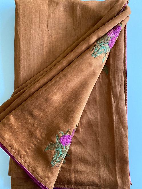 Raw Silk Rust Colored Sari