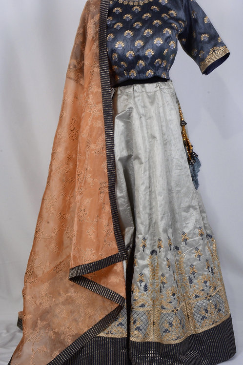 Raw Silk Soft Grey with Peach Dupatta