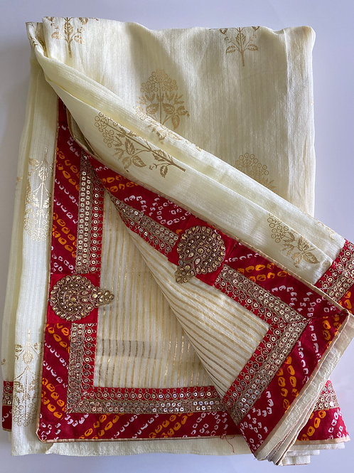 Cream Colored Art Silk Sari with Golden Rubber Print