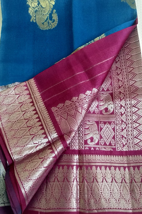 Traditional Blue and Pink Kupaddam Silk Saree