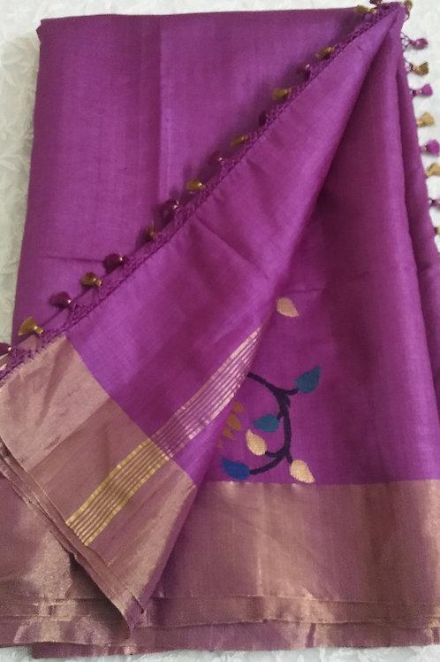 Light Mauve hand woven Tussar Silk Saree