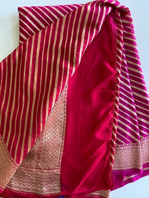 Ombre Red and Pink Georgette Banarasi