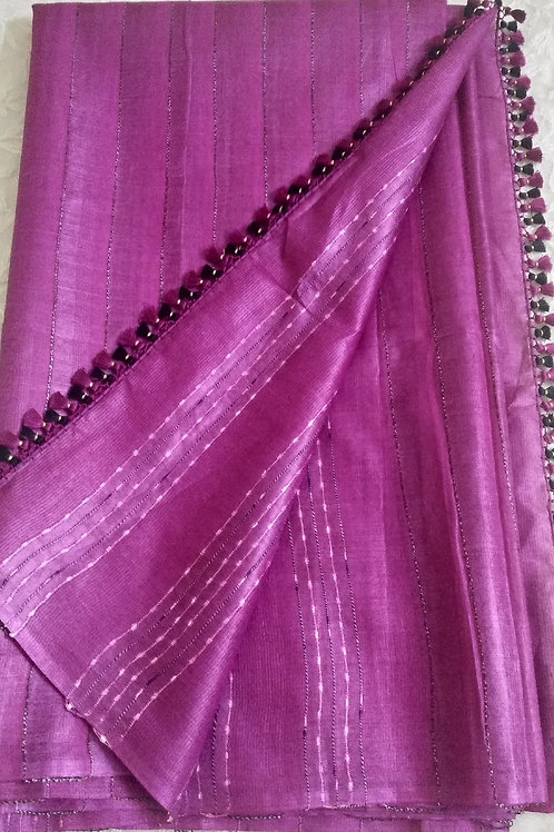 Light Magenta Pink Pure Tussar Silk