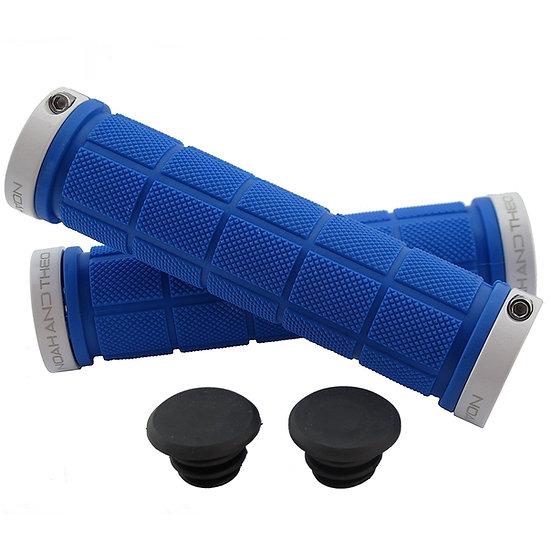 NOAHANDTHEO Double Lock On Handlebar Grips BLUE WHITE