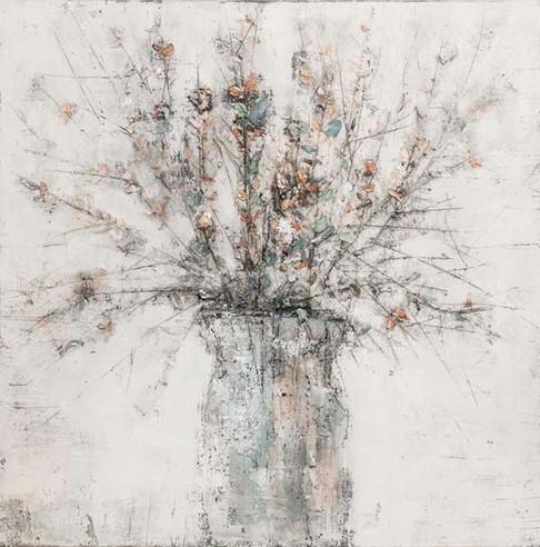 Schilderij 407788 Orange Celastraceae in a vase 120x120
