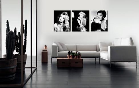 Trio foto's op plexiglas