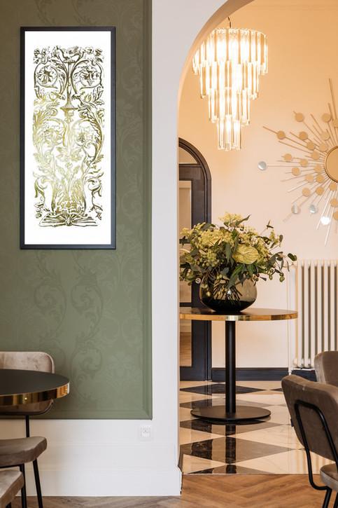 inlijsting, poster, art print met gouden accenten