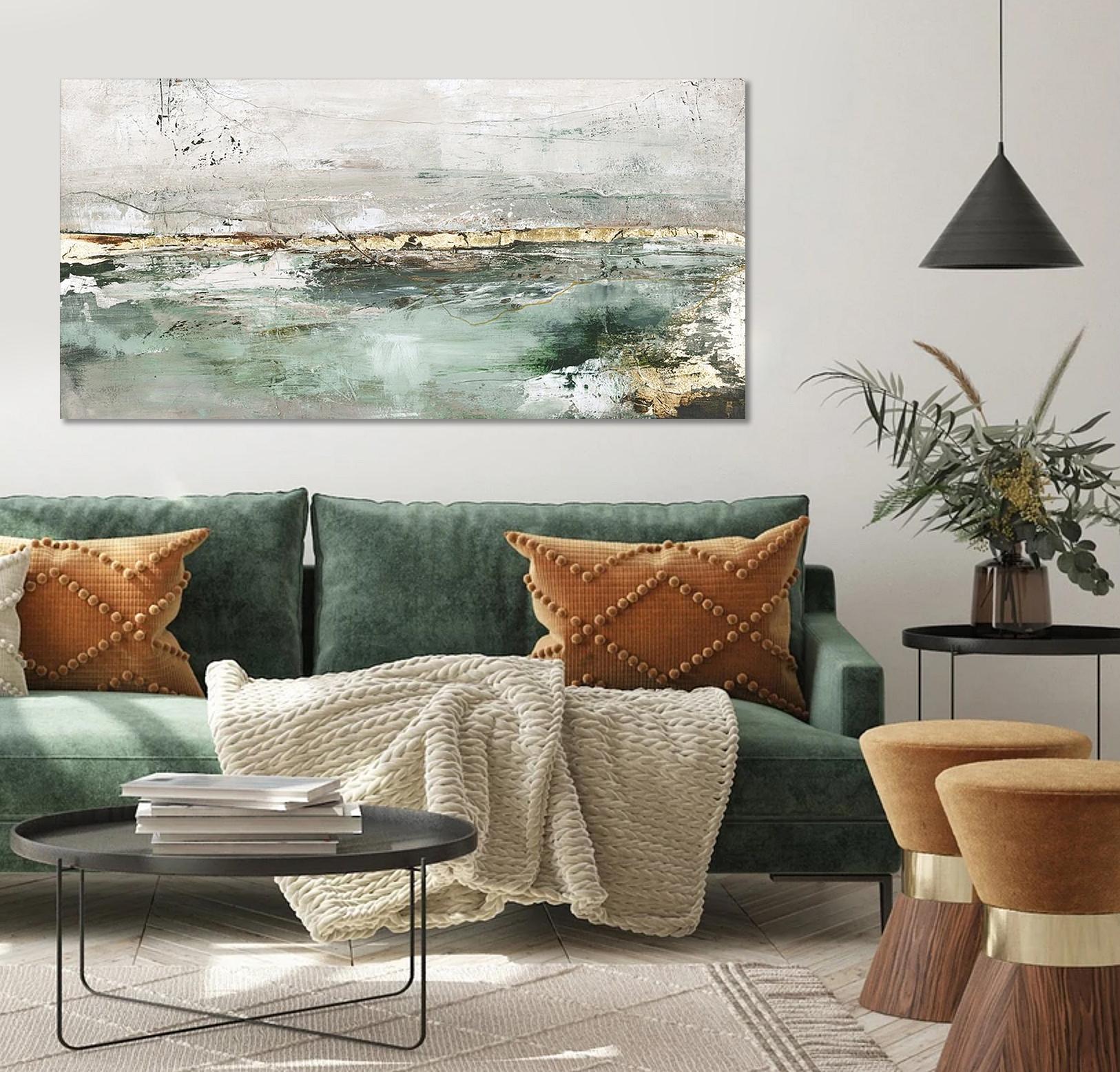 Schilderij Low Limit Green 70x140