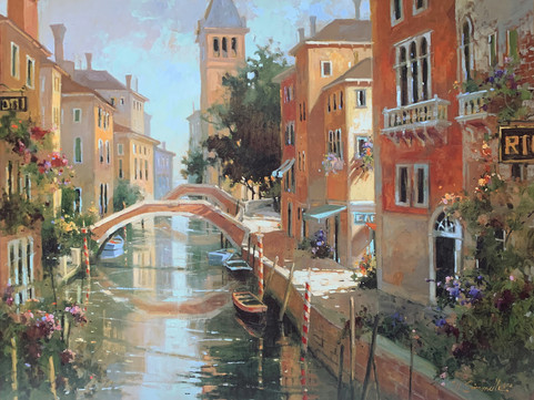 MARILYN SIMANDLE, ON THE CANAL 60X80