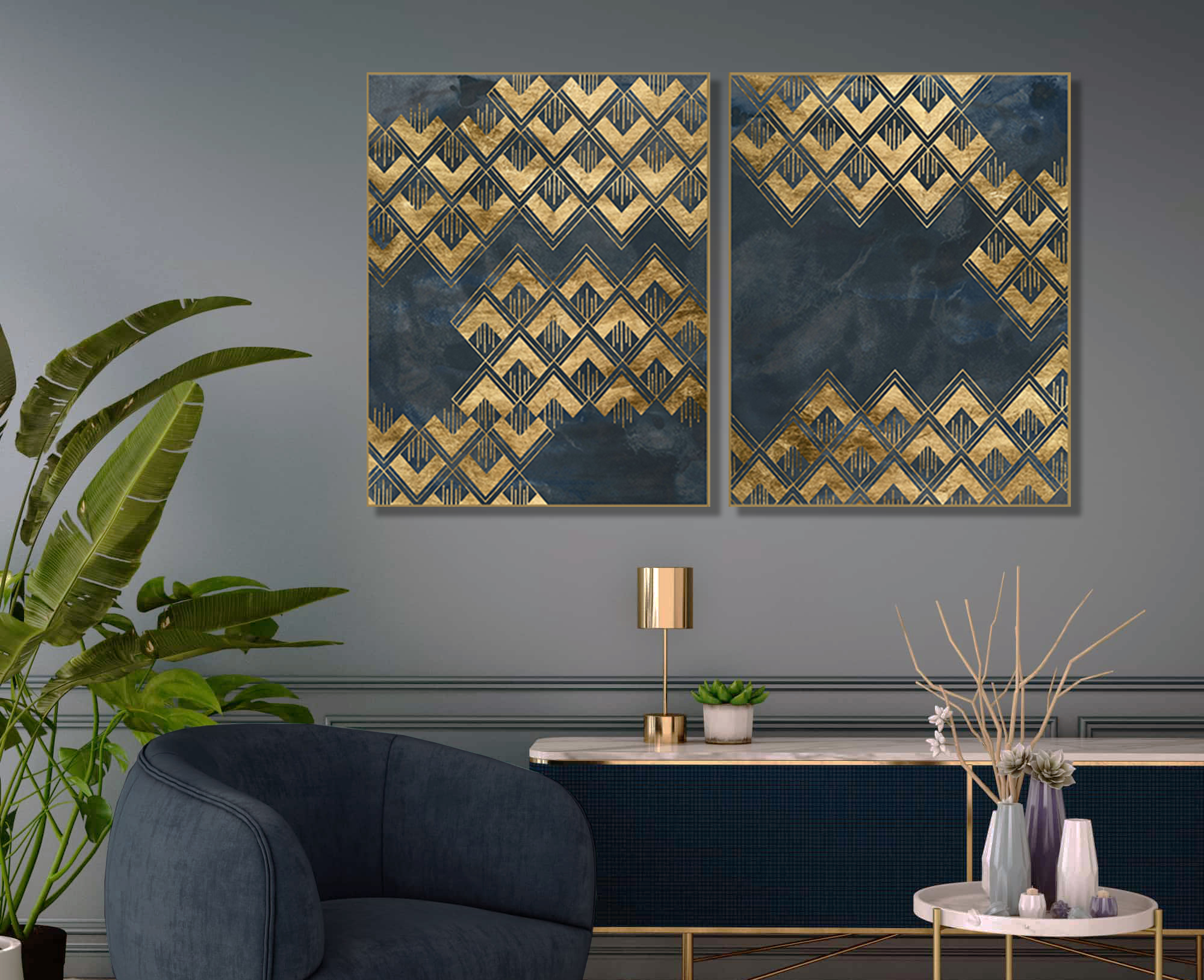 Abstracte art-prints Patterns in blue