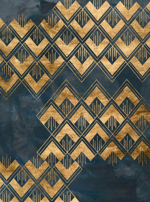 Ingelijste kunst print 172023Z Deco Pattern in Blue II