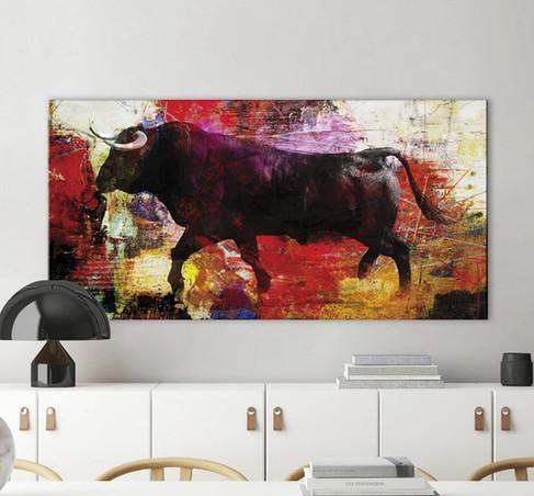 Schilderij Colour Bull 70x140cm