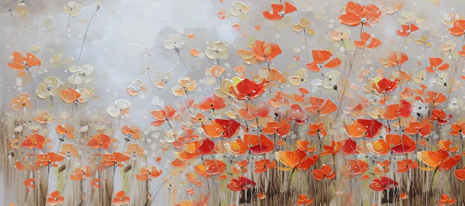 Schilderij 407791 Happy Red Anemones  80X180
