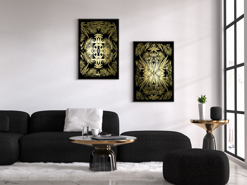 Duo Gold Foil Tropicalkaleidoscope  on black 97x64