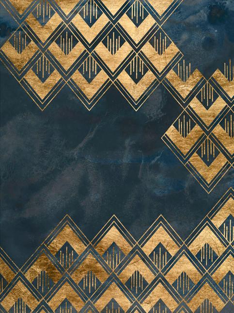 Ingelijste kunst print 172024Z Deco Pattern in Blue III