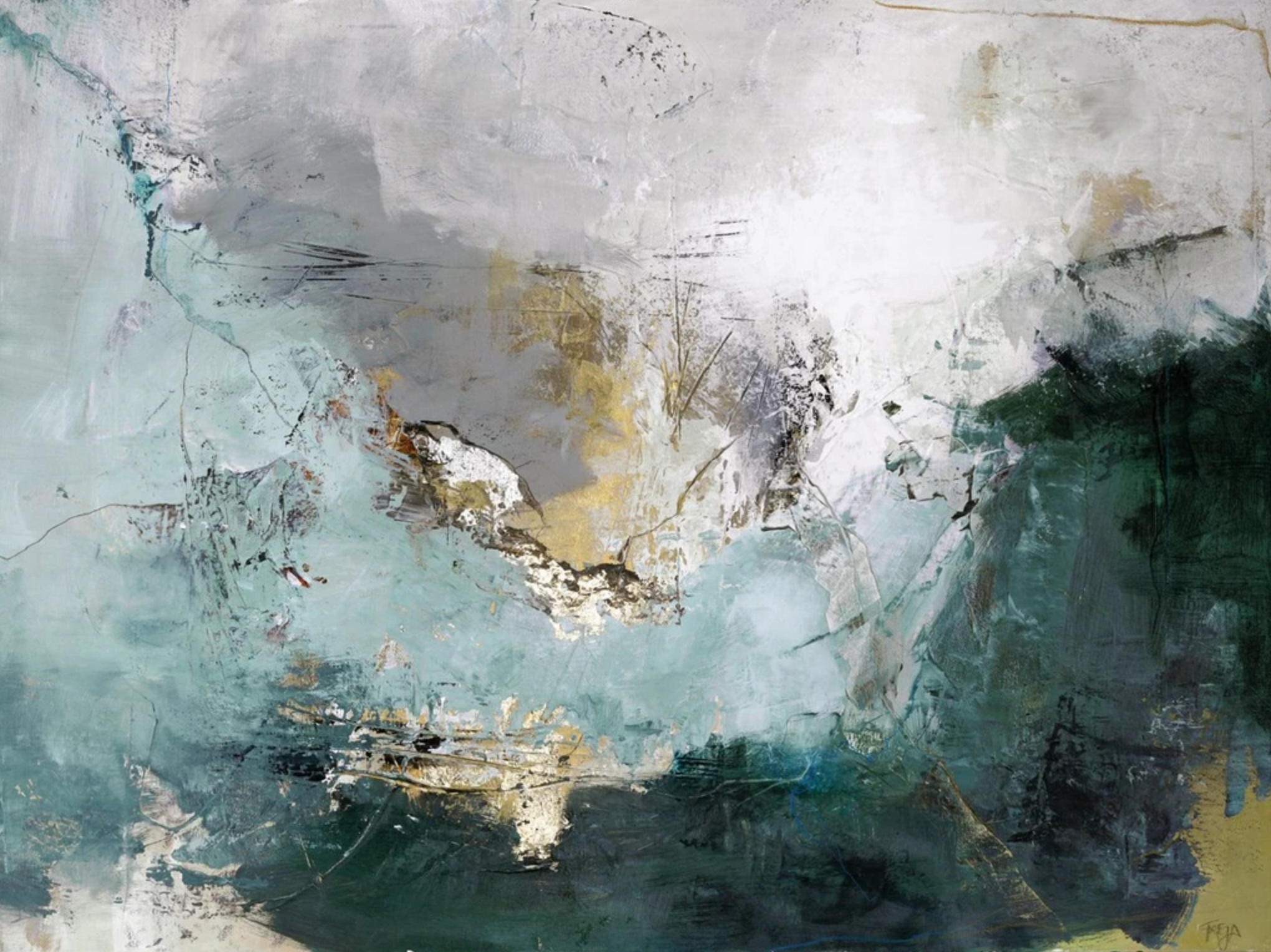Schilderij Arctic Green Mixed Media 118x90