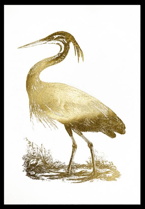 Gold Foil Heron II John Selby 75x110, in stock
