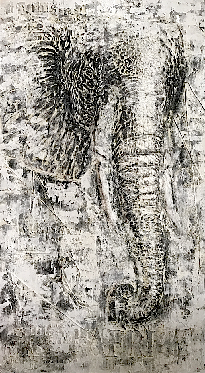 Schilderij  Witte Olifan