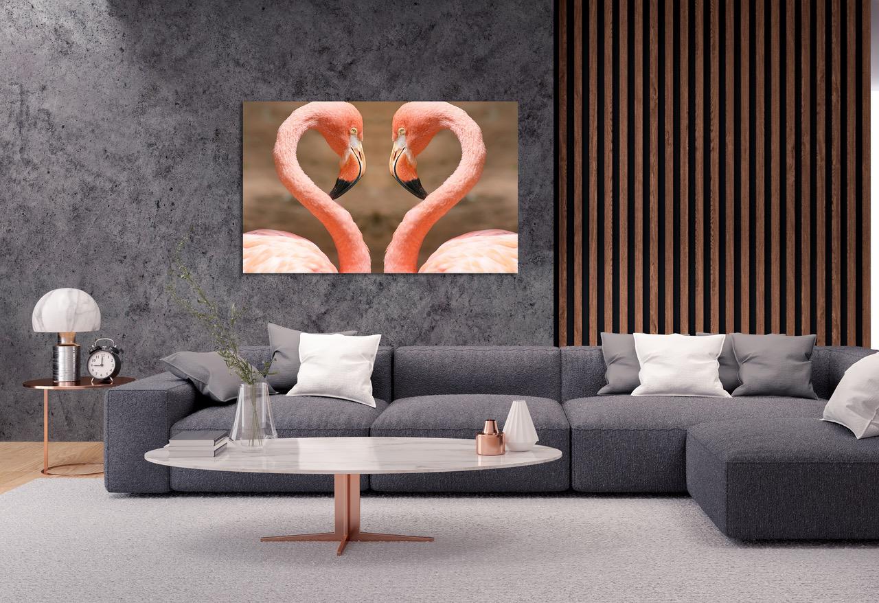 Foto op plexiglas Flamingo heart