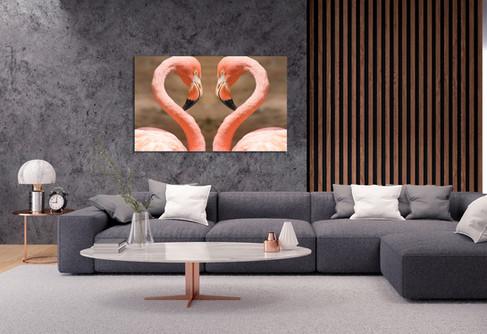Kunstfoto op plexiglas  Flamingo heart