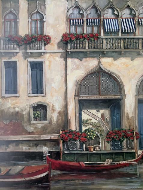 FABRICE DEVILLENEVE, VENICE CANAL BLUE DOOR  60X80