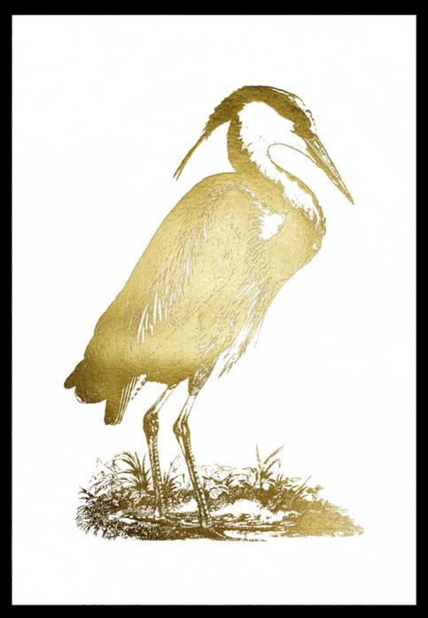 Gold Foil Heron I John Selby 75x110, in stock