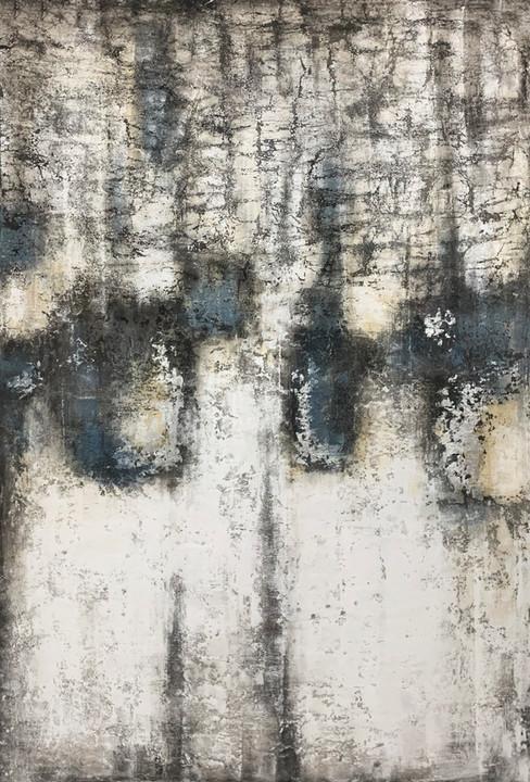 Schilderij 407725 Teal meets Charchoal concrete  220x150