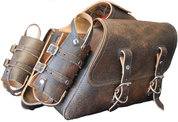 UNIVERSAL THROW OVER SADDLE BAG SET RUSTIC BROWN PLAIN WITH FUEL BOTTLE HOLDERS