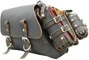 THROW OVER SADDLE BAG SET RUSTIC BLACK WITH FUEL BOTTLE HOLDERS