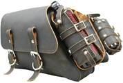 THROW OVER SADDLE BAG SET RUSTIC BLACK WITH FUEL BOTTLE HOLDERS
