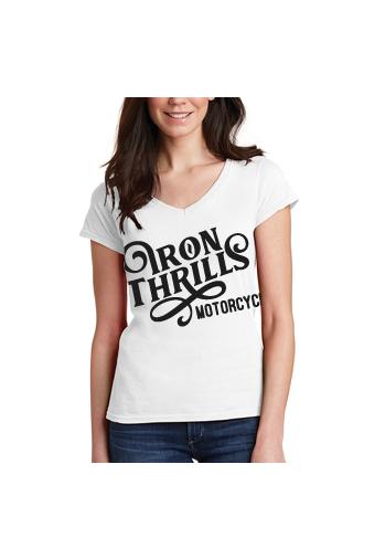 Iron Thrills Motorcycle Co. Be Original Ladies V-Neck