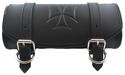 FRONT FORKS TOOL BAG BLACK PLAIN WITH EMBOSSED IRON CROSS