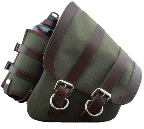 CANVAS SOFTAIL LEFT SIDE SADDLE BAG SWINGARM BAG WITH FUEL BOTTLE HOLDER - ARMY