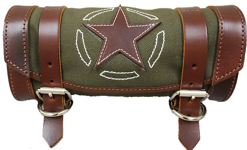 UNIVERSAL FRONT FORK TOOL BAG - ARMY GREEN CANVAS WITH BROWN LEATHER STAR