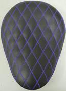 """13"""" ELIMINATOR SOLO SEAT BLACK DIAMOND TUK WITH BLUE STITICHES"""