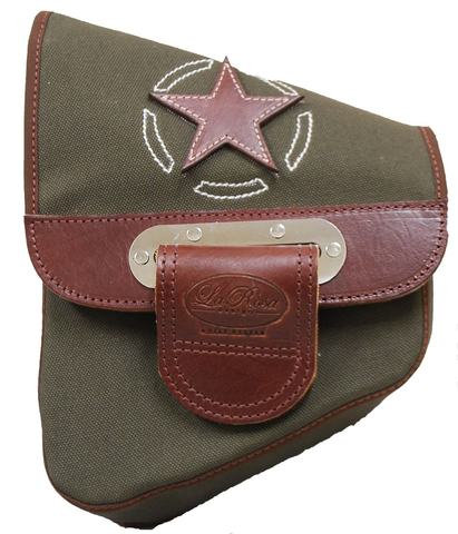 CANVAS SOFTAIL LEFT SIDE SADDLE BAG SWINGARM BAG ARMY GREEN WITH BROWN LEATHER