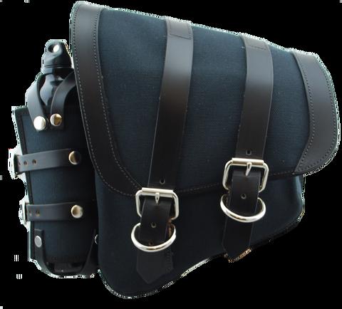 CANVAS SOFTAIL LEFT SIDE SADDLE BAG SWINGARM BAG WITH FUEL BOTTLE HOLDER - BLACK
