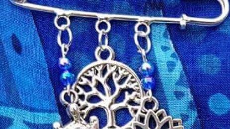 Hat & Sarong Pins - Turtle, Tree of Life & Lotus - blue beads