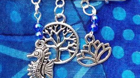 Hat & Sarong Pins - Sea Horse, Tree of Life & Lotus - blue beads