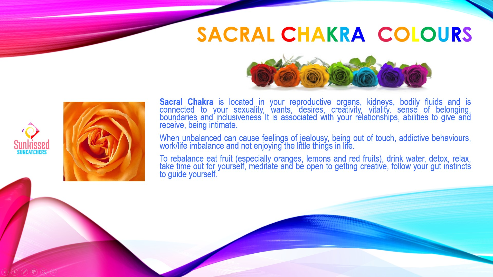 Sunkissed Suncatchers 3 Sacral Chakra Colours