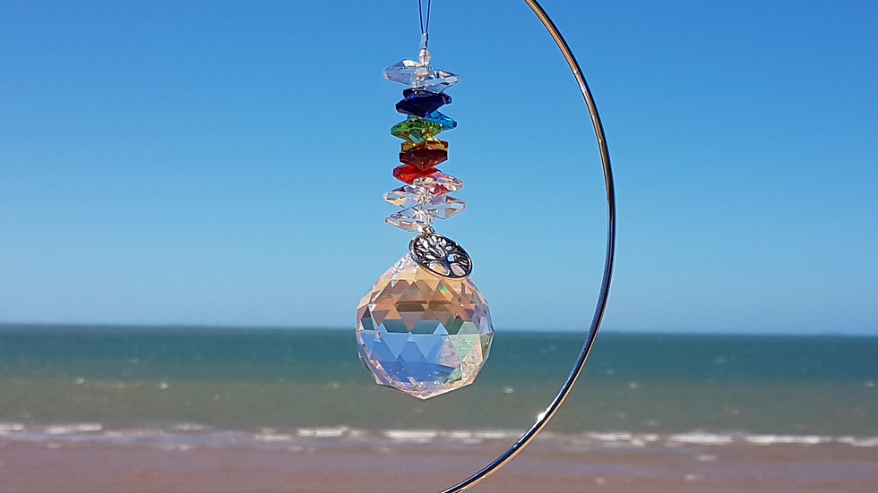 Suncatcher - Large Prism Chakra Colours (stand sold separately)